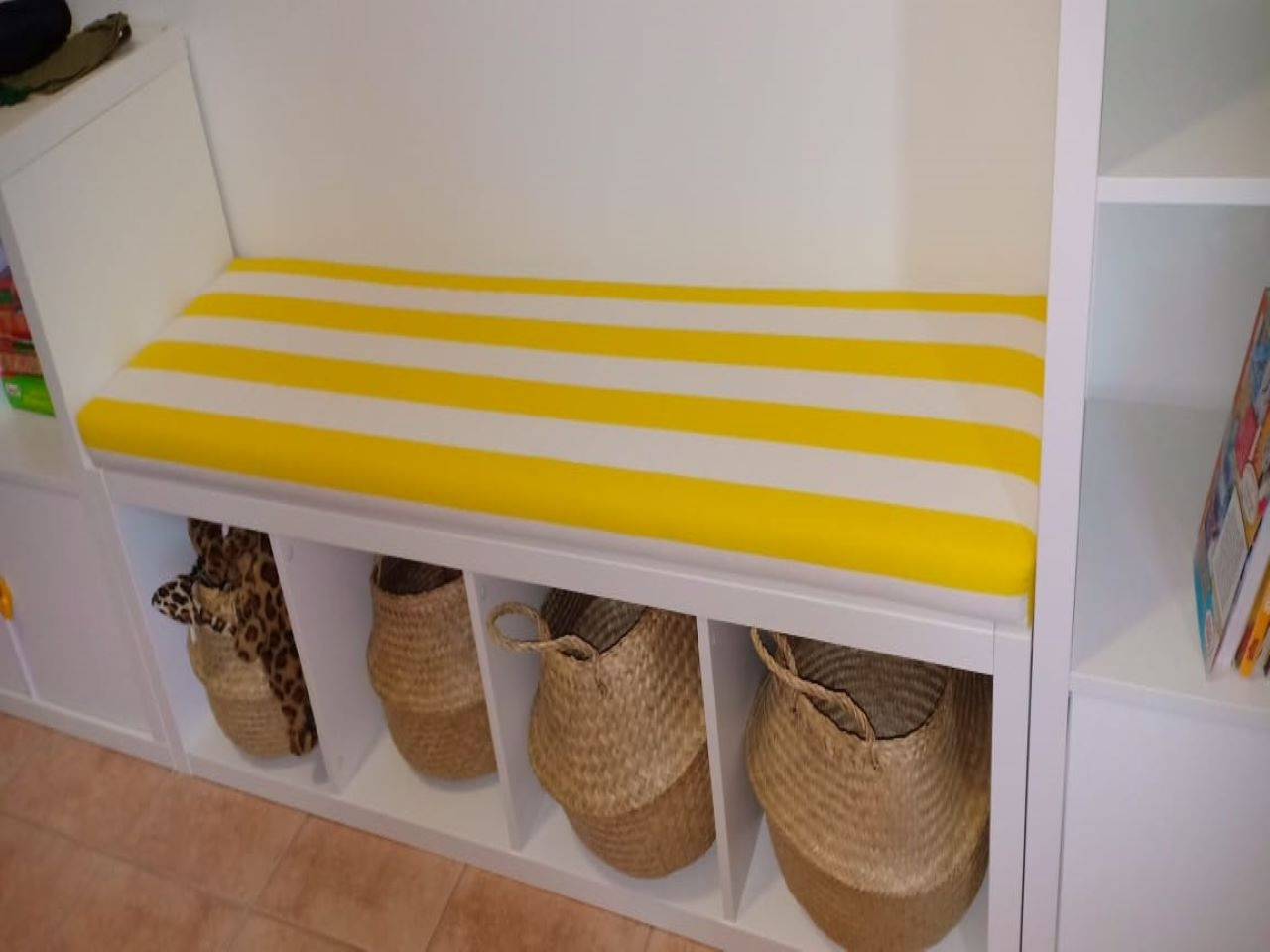 Cushion for Ikea table in striped yellow fabric