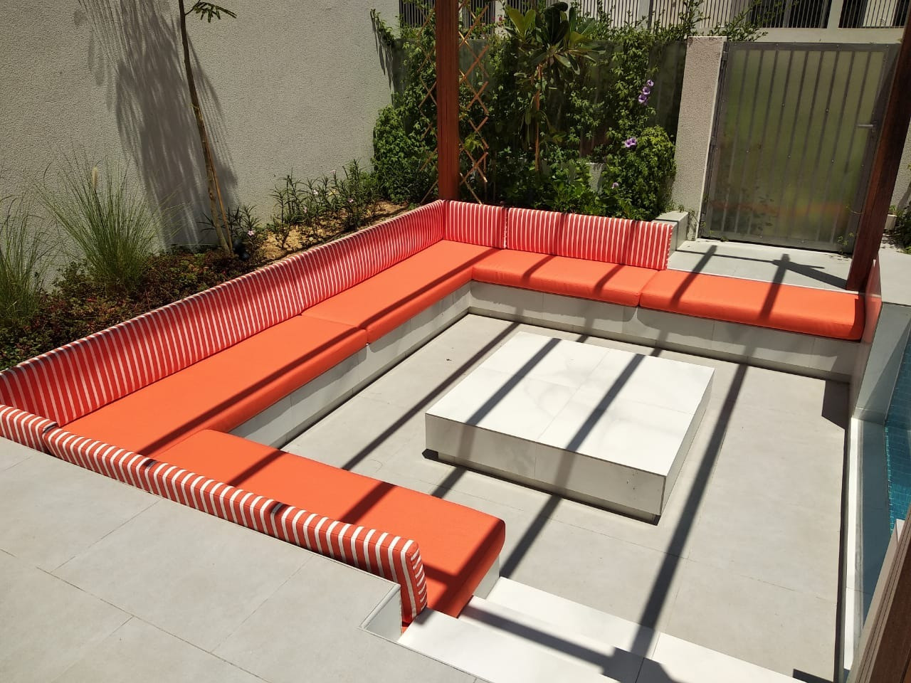 Pool side cushions using Sunbrella and Sun-proof outdoor fabric